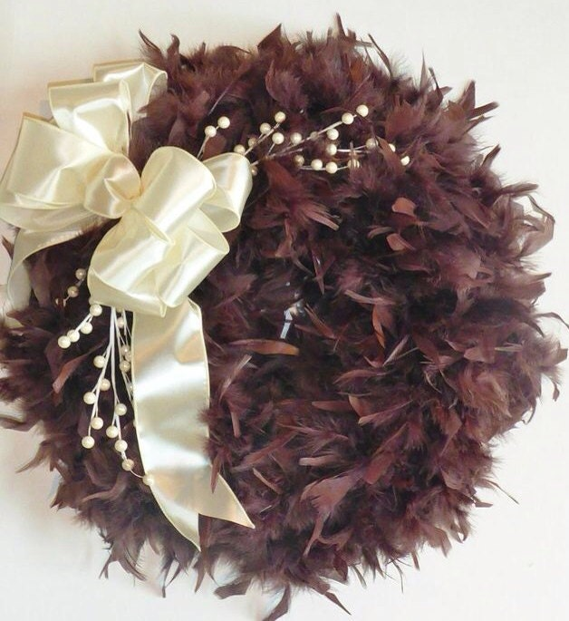 Christmas wreath in Cream and Chocolate -Feather wreath - Holiday Decor