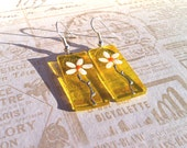 Glass Earrings,  Yellow Earrings with Flowers, Daisy design, Hand Painted Glass Jewelry, Silver Plated Earwires - BodsJewellery