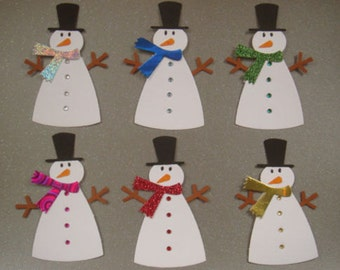 6 Snowmen card toppers with *Gems* Ready to use for cardmaking scrapbooking