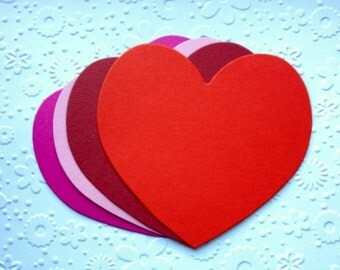 10 XL large Heart die cuts for valentines cards/toppers cardmaking scrapbooking