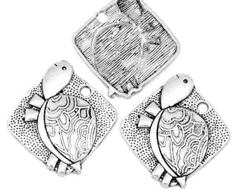 4 Square Silver Turtle Tortoise Charms 4360