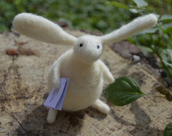 Postman Needle Felt Rabbit, Handmade, Bunny, Hare, Woodland,Critter,Needle felt,Animal,Soft Sculpture,Fibre Art,Miniature,Little Rabbit,OOAK