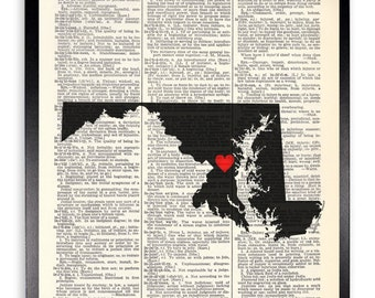 Maryland Upcycled Dictionary Art Print Repurposed Book Print Recycled Antique Dictionary Page - Buy 2 Get 1 FREE