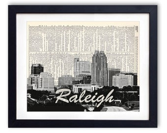 Raleigh Skyline With Name Upcycled Dictionary Art Print Repurposed Book Print Recycled Antique Dictionary Page - Buy 2 Get 1 FREE