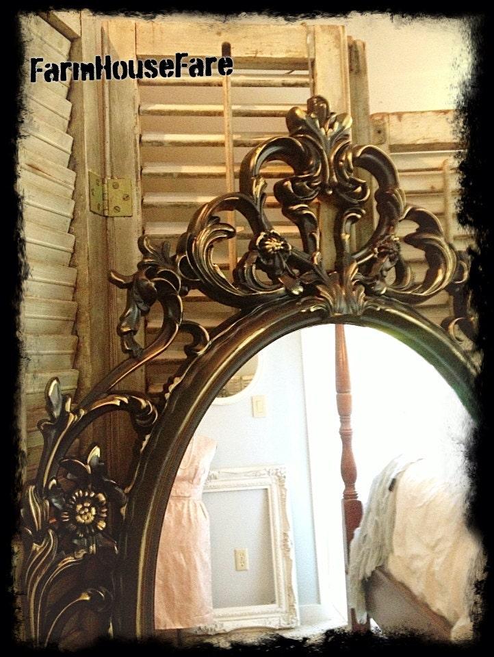 Baroque bathroom vanity mirror black gold ornate mirror large for Baroque bathroom mirror