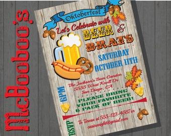Rustic Beer, Brats Octoberfest Party Invitations