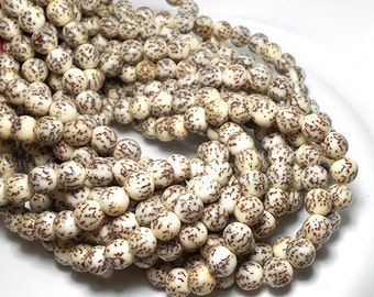8mm White Salwag Seed Beads, Natural Beads, Seed Beads, Nut Beads, Natural Salwag Beads, White Nut Beads, Creamy Natural Beads, D-F02