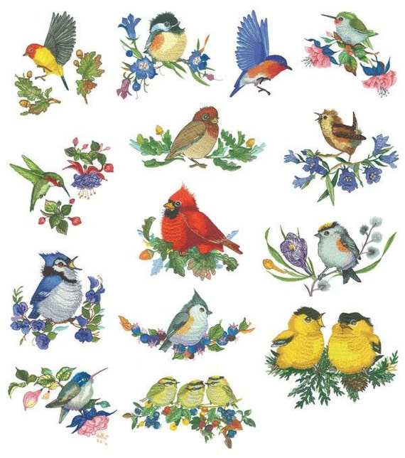 Songbirds Machine Embroidery Designs - PES format