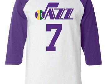 New Orleans Utah Jazz Style Raglan T Shirt Jersey Pistol