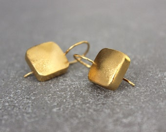 Square earrings, Gold geometric earrings, gold earrings, Drop earrings.