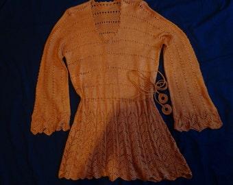1920's Sweater knitwear  orange silk knit.