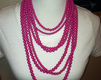 Hot Pink Multi Layer Beaded Necklace