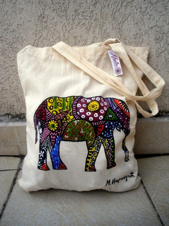 ELEPHANT BAG Canvas tote bag Handpainted bag Tote bag Cute colorful bag Hippie reggae bohemian bag Hippie fashion Elephant tote bag Africa