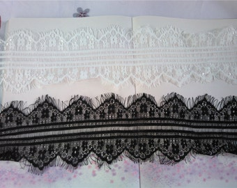 "3Yard-4""*115"" white wedding lace trim Exquisite Wide Black Chantilly Eyelash Lace Trim Width 10CM"