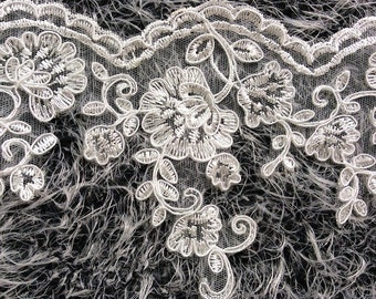 """Bridal Veil Dress Supply Off White Alencon Lace Trim Wedding Lace ivory With Silver Thread Floral Embroidered Retro Lace 5.5"""" Wide by yard"""