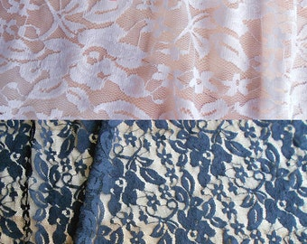 Black Elastic Lace Fabric / Black Stretch lace Fabric / Black Lace Fabric/White Stretch Lace Fabric / White Lace Fabric / By The Yard