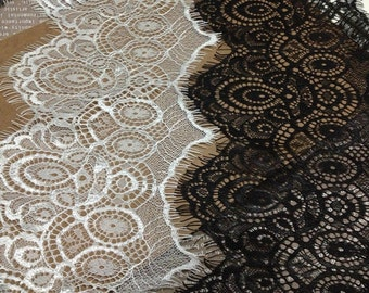 "3Yard-4""*115"" black lace trim Exquisite Wide Black Chantilly Eyelash ivory white Lace Trim ,Minerva lace ,night owl pattern"