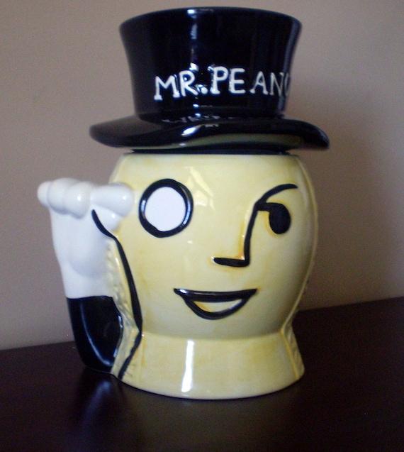 Mr Peanut Planter Ceramic Cookie Jar With Top Hat Cookie Jar