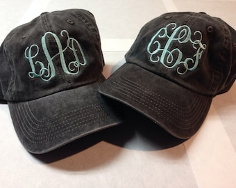 Monogrammed Unstructed Washed Cap