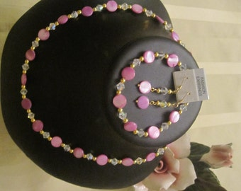 3 pz set mother o pearl: Necklace, bracelet, earrings