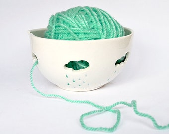 Yarn Bowl Hand Painted in Blue , with Openwork of Clouds and Raindrops. Ready To Ship