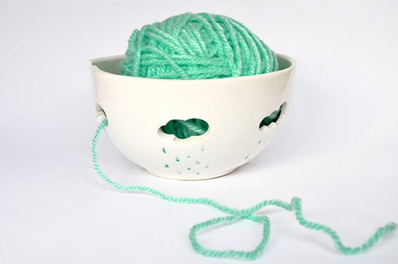 Yarn Bowl Hand Painted in Blue , with Openwork of Clouds and Raindrops- Made To Order