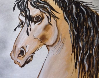 """24""""x 36"""" Abstract Painting of Horse"""