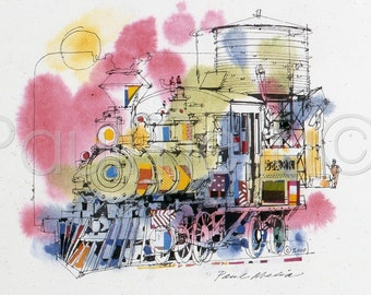 Locomotive Watercolor Print, Train Painting, Railroad Art Print, Old Time Steam Engine Painting, Reproduction-No. RR-C-3