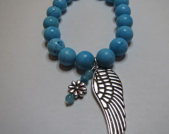 Angel Wing and Flower Howlite Stretch Bracelet