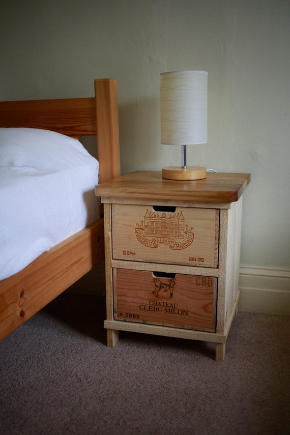 Rustic Wine Box Bedside Table Handmade By Boisrustique On Etsy
