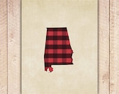 Alabama Poster, State Wall Art Print, Buffalo Plaid, Lumberjack Plaid, Red and Black, Instant Download, Home Decor