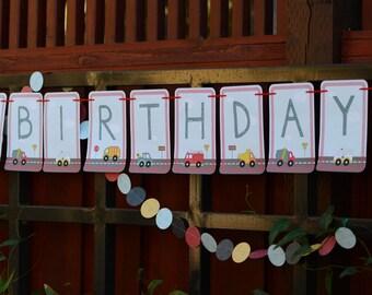 Big Trucks 'Happy Birthday' Banner {Digital Download}
