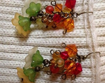 SWAROVKSI & GLASS Bead Cascade Earrings:Red,Orange,Yellow Genuine Swarovski Crystals,Frosted Glass Beads,Flower Caps,Antique Brass Findings