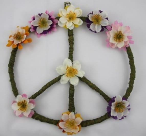 Peace Sign Bedroom Accessories: Hippie Wall Art Peace Sign Boho Hippie Decor College Dorm