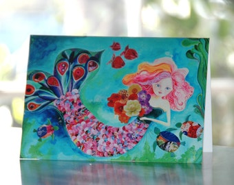 Mermaid Card. Beach Art. Blank Inside. Anytime Card. Mermaid Art.