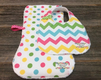 Baby Girl Bib and Burp Cloth Set - Chevron and Polka Dots - Bib Set - Burp Cloth Set - Terry Cloth Bib - Gift Wrapped