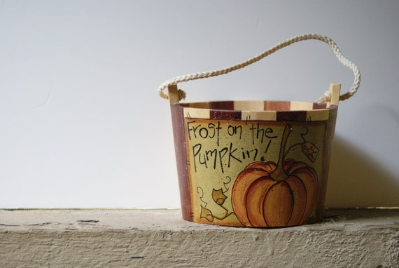 Fall Halloween Decor Pumpkin Wood Bucket Hand Painted One