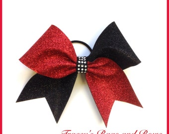 Cheer Bow~Red and Black glitter bow~Softball Bow