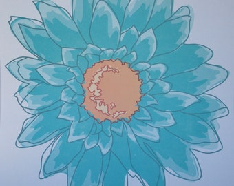 12x12 Large Blue Daisy Print Paper