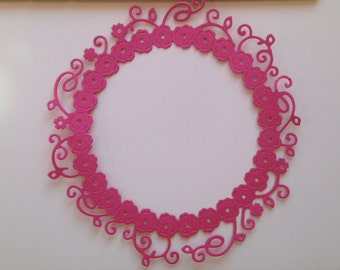 Lace Floral Round Frame Die Cut
