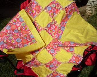 Three piece flannel Rag Quilt/Blanket set