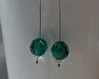 Modern Emerald Swarovski Crystal Earrings Handmade