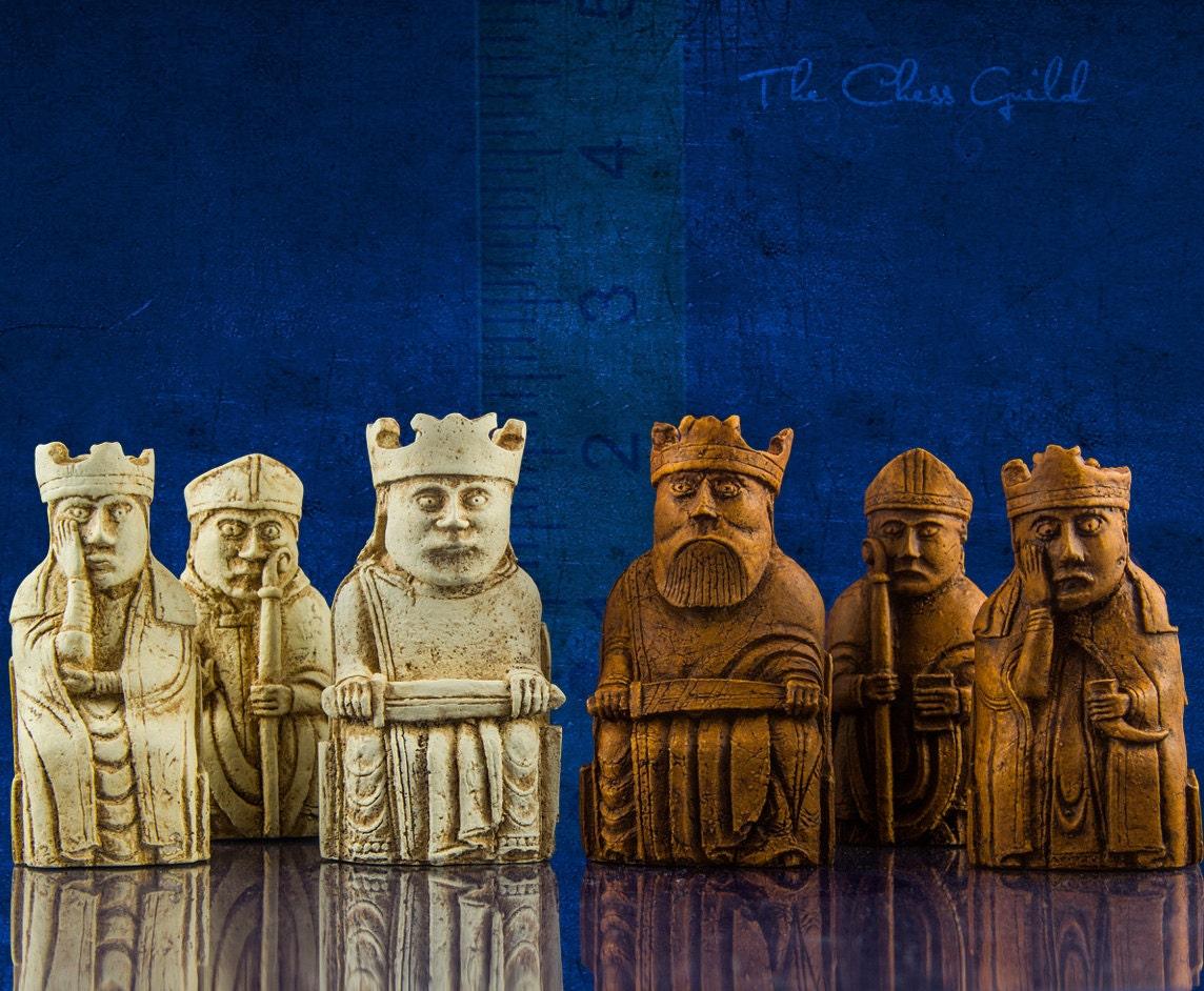 Isle of lewis chessmen small sized set - Lewis chessmen set ...