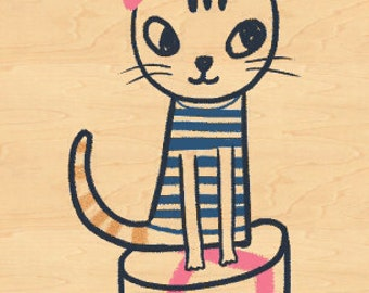 13DOTS Cat Maple Veneer Post Card