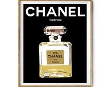 "Paris illustration - ""Chanel Perfume"" - COCO Chanel Parfum- Home Decor Art Prints - Typography"