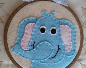 Elephant, Felt, Hoop Art, Elephant Wall Hanging, Blue, Ellie, Nellie, Childrens Hoop, Nursery, New Baby, Baby Shower Gift, New Mom
