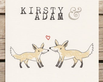 Fox themed wedding invitation. Animal themed wedding