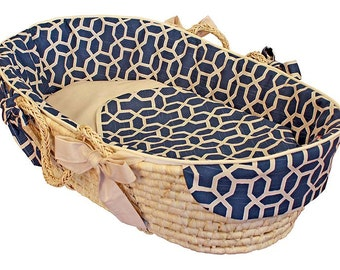 Baby Moses Basket - Pebbles Navy