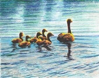 Family of Ducks in Oil Pastels