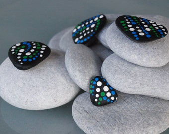 Large  -  Aboriginal Inspired Stone Magnet  -  in Blue and Green